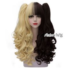 65cm-Blonde-Mixed-Dark-Brown-Long-Curly-Ponytails-Anime-Lolita-Cosplay-Wig-Cap