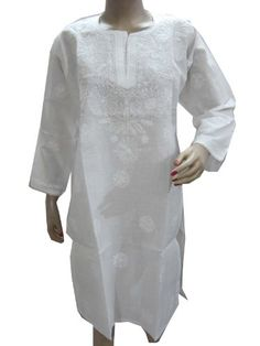 Indiatrendzs Tunic Kurti, White Tunic Chikan Embroidered Paisley Cotton Tunic Top Mogul Interior,http://www.amazon.com/dp/B00EC4UKXW/ref=cm_sw_r_pi_dp_y-.isb0HB6M6QMXR