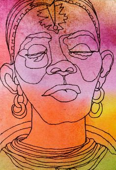 SAMBURU SISTER - An Original Artwork - Ink Drawing on Abstract Watercolor Painting - One Continuous Contour Line of a Face. $45.00, via Etsy. Art Sketchbook, Art Drawings, Illustration Character Design, Drawings, Contour Drawing, Line Art, Elementary Art Projects, Figure Drawing, Art