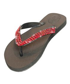 Glitz Flips Red Crystal Flip Flops on a Flat Black Base -- Click on the image for additional details.