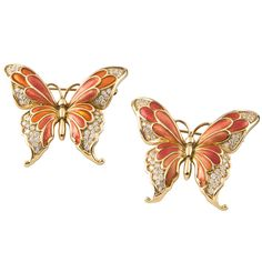 Pair Of Enamel Diamond Butterfly Brooches | From a unique collection of vintage brooches at http://www.1stdibs.com/jewelry/brooches/brooches/