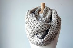 Chunky scarf, cowl, infinity scarf -The Abington Warmer in oatmeal