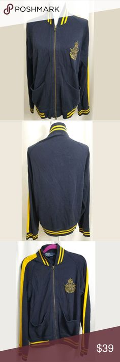 "Polo Ralph Lauren Full Zip Crest MCB-7 Sweater This is a Polo Ralph Lauren Blue Full Zip Crest MCB-7 Sweater Jacket sz MEDIUM. There are no stains, snags, or holes.  Measurements: (When laid flat) Armpit to armpit: 22"" Top of shoulder to bottom: 26""  Product material: 92% Cotton  8% Acrylic   Inventory #: V Polo by Ralph Lauren Jackets & Coats"