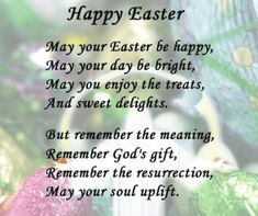 Happy Easter Poems 2018 For Students Kids Children : Jesus Short Easter Poems Fo. - Happy Easter Poems 2018 For Students Kids Children : Jesus Short Easter Poems For Churches Happy Ea - Easter Verses, Easter Poems, Happy Easter Quotes, Easter Prayers, Happy Easter Wishes, Easter Sayings, Jesus Easter, Easter Art, Easter Crafts