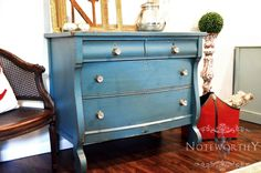 Antique Empire Dresser or Chest of drawers - painted  41x21x36  $475