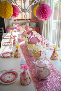 Party table from Flamingo + Flamingle Pineapple Party at Kara's Party Ideas. See more at karaspartyideas.com!