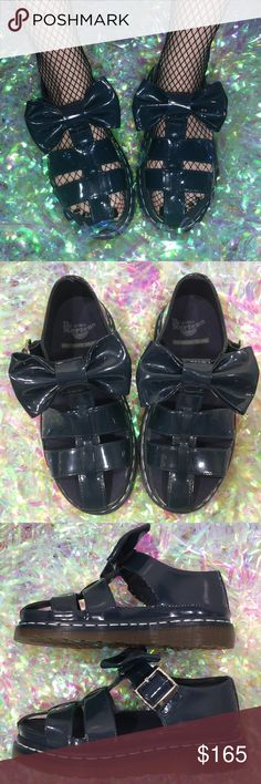 """Dr. Martens Blue Patent Leather Aggy Bow Sandals UK 4. US Women's 6. Part of the Agyness Deyn Collection. Sold out everywhere & extremely hard to find this size. In amazing condition! Only flaw is writing on the sole.  Insole - 9.25""""  ⚠️ Please, compare measurements to a pair of shoes that you wear for the most accurate fit ⚠️  *I'm not responsible for the fit of an item*  🚫 I don't discuss prices through comments, please use the offer button!  ⚡️ I ship everyday Monday - Friday 🚫 I don't…"""
