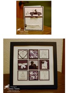 Wedding collage made using parts of the wedding invitation and various Stampin' Up! stamp sets