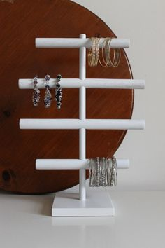 Shabby Chic White Wash Jewelry Organizer READY TO SHIP Bracelet Headband Holder Stand Craft Show Display Rack Watch Bracelet Anklet Hoop