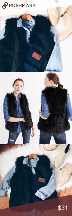 • af black faux fur vest • • NWT. Brand new.  Soft faux fur vest with interior lining. Faux fur is 85% modacrylic, 15% polyester.   • Size Medium  • Price firm. No trade. Abercrombie & Fitch Jackets & Coats Vests