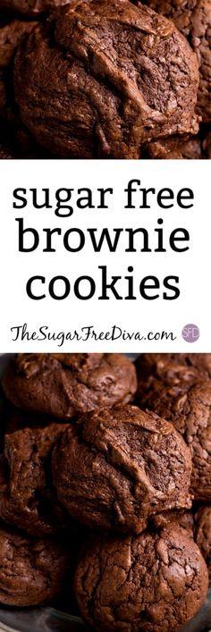 Sugar Free Brownie Cookies It's like the best of all worlds! Sugar Free Brownie Cookies It's like the best of all worlds! Sugar Free Deserts, Sugar Free Treats, Sugar Free Cookies, Sugar Free Recipes, Brownie Cookies, Sugarless Cookies, Brownie Desserts, Oatmeal Cookies, Cake Cookies