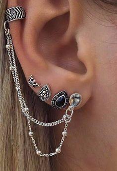 Beautiful Ear Piercing Ideas for Women at MyBodiArt.com - Arrowhead Chevron Ear Cuff Earring in Antiqued Silver - Crown Black Jewel Tribal Medieval Earrings Set