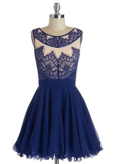 Adore the Dance Floor Dress. Twirling is oh-so satisfying in the voluminous tulle-lined skirt of this royal-blue fit and flare by Chi Chi London. #blue #prom #modcloth
