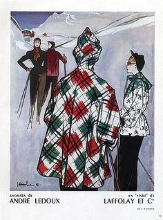 * Ski anoraks André Ledoux, 1948 illustrateur J. Ski Fashion, Retro Fashion, Vintage Fashion, Winter Fashion, Mode Vintage Illustration, Vintage Ski Posters, Illustrator, Ledoux, Winter Mode