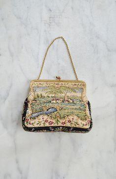 vintage 1930s tapestry landscape purse