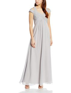Little Mistress Women's Grey Crossover Empire Maxi Dress Sleeveless Dress