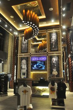 Rock Shop at Hard Rock Cafe Santa Cruz Hard Rock Hotel, Rock Room, Cancun, Rock Cafe, Cafe Wall, We Will Rock You, Garden Bar, Cafe Interior, Ceiling Design