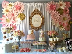 Vintage Pink & gold Dessert table by Designs by Oochay Floral & Event Design. - First Birthday Party Decor - meadoria Vintage Birthday, Gold Birthday, Baby First Birthday, Fiftieth Birthday, Birthday Decorations, Baby Shower Decorations, Table Decorations, Cake Table Backdrop, Pink Dessert Tables