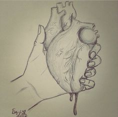 Squeezing heart drawing.