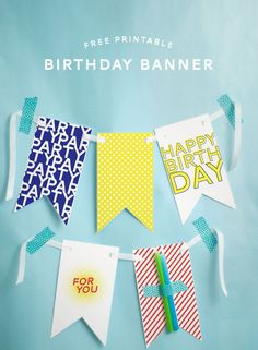 Printable Happy Birthday Banners Best Of Free Printable Happy Birthday Banner Printable Birthday Banner, Diy Birthday Banner, Diy Banner, Bunting Banner, Happy Birthday Banners, Birthday Cards, Free Birthday, Cake Banner, Buntings