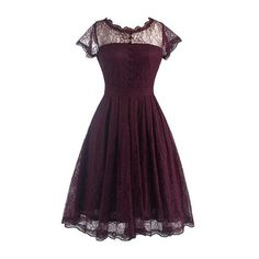 Rotita V Back Cap Sleeve Lace Skater Dress (£19) ❤ liked on Polyvore featuring dresses, short dress, wine red, short red dress, red mini dress, short sleeve dress, red dress and short lace dress