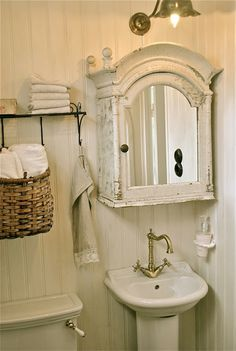 Charming Cottage Bathroom: Beadboard, Pedestal Sink, Tulip Light Fixture,  Arched Shabby Chic Medicine Cabinet, Etc.