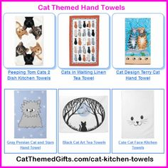 Cat Kitchen hand Towels - Click to see more cat gift ideas: http://www.catthemedgifts.com  #catkitchenware #catthemedgifts