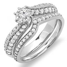 1.00 Carat (ctw) 14k White Gold Round Diamond Ladies Bridal Engagement Ring Band Set 1 CT (Size 10) *** You can find out more details at the link of the image.