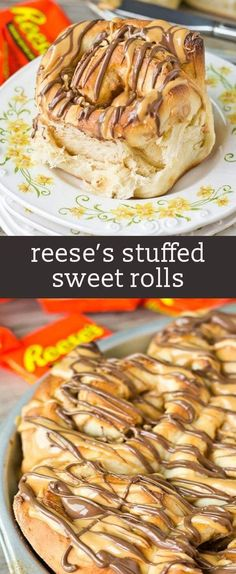 Why not have Reese's peanut butter cups for breakfast? Peanut butter cream and Reese's are stuffed inside this homemade bread. Such a sweet way to start your day! homemade chocolate peanut butter bread rolls / breakfast rolls / sweet rolls / peanut butter stuffed via @tastesoflizzyt