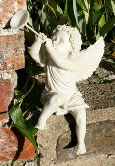 Sweet little cherub with trumpet sitting in the garden Angels Among Us, Angels And Demons, Sculpture Art, Garden Sculpture, Ange Demon, Garden Angels, Cemetery Art, Angel Statues, Mystique