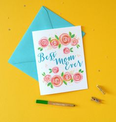 Peach rose blooms watercolor flowers Mother's Day Card by artist Michelle Mospens - www.mospensstudio.com