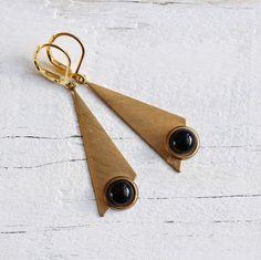 Geometric Triangle Earrings ... Black Jet Gold by SilkPurseSowsEar, £12.00