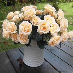 Artificial flower bouquet (for table decor etc - 1 x Bouquet French Rose Artificial Silk Flowers Home Wedding Party Floral Decor) (-Brand new and high quality -1 bouquet with 12 heads French roses ,looks real-like -Ideal for home wedding decoration -Color: White, Champagne, Rose red, Pink, Red -Size: Total length: Approx 30cm/11.8inch          Rose diameter: Approx 5cm/1.96inch)