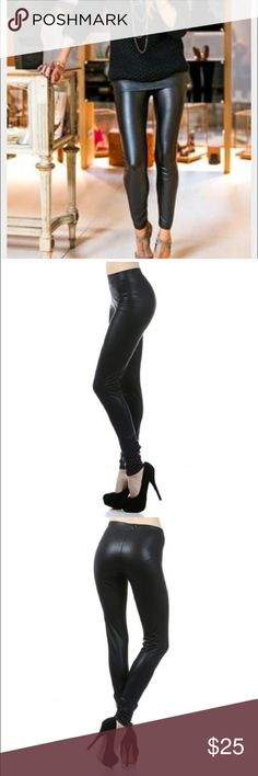 Now in Stock Vegan Faux Leather Leggings Now in stock! Look polished and feel comfy - faux leather leggings are the new skinny jeans and everywhere for fall/winter 2016! Photo 1 is for style inspiration. 92% poly, 8% spandex for a slim fit. Women's contemporary sizing: Small = 2/4, Medium = 6/8, Large = 10/12 These are new wholesale, so no hang tags. Fashionomics Pants Leggings