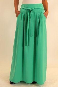 летняя длинная юбка с поясом