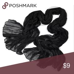 Black Chiffon Scarf Black Chiffon Scarf                                                             🔹New, in package Accessories Scarves & Wraps
