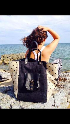 En LIN                              POMPONETTE         La mer          LE SOLEIL      La plage   Les ballades      L... Handmade Handbags, Handmade Bags, Sacs Tote Bags, Lace Bag, Recycled Denim, Patchwork Bags, Denim Bag, Big Bags, Shopper