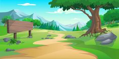 Graphic tree and hill Premium Vector Scenery Background, Love Background Images, Background Clipart, Cartoon Background, Animation Background, Forest Illustration, Landscape Illustration, Animal Pictures For Kids, Playroom Mural