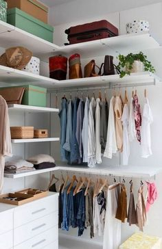 13 Creative Ways To Create a Wardrobe With Low Budget Corner closet in a white room Wardrobe Design, Wardrobe Closet, Closet Bedroom, Bedroom Decor, Bedroom Storage, Corner Closet, Tiny Closet, White Closet, Small Closets
