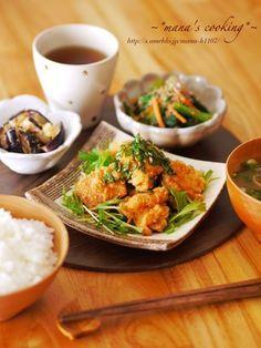・から揚げのねぎ香味ダレ・小松菜のおかか和え・茄子のさっぱりごま酢和え | mana's cooking