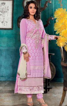 Picture of Excellent Pink Designer Churidar Kameez