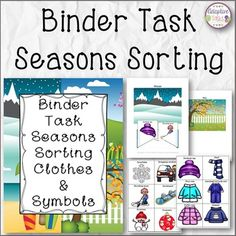 Seasons Sorting is a binder task for students to match up clothing items and symbols that best match each of the four seasons.There are four season pages with space to place an envelope to house matching cards, along with 6 each of the clothing cards and symbol cards for each season.Great for independent task and theme about seasons***Please look at preview for more visual detail*****************************************************************************Earn TPT credits to help with other…