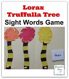 Dr. Seuss Themed Sight Word Game Featuring the Lorax's Truffulla Trees