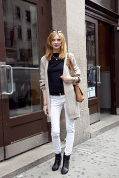 Olga Sherer looking stylish in basics with a Lanvin bag.
