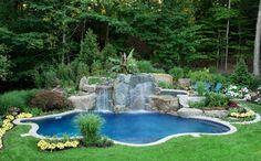 gartenpool wasserfall steine schwimmbecken