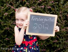 1st day of school photo   The Peanut is off to Kindergarten. So much has changed so quickly for us this year and now this. I can't believe my little girl is so big. Starting with her 2 year old preschool we've been doing the chalkboard first day of school idea. Have you seen this?