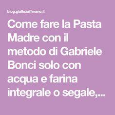 Come fare la Pasta Madre con il metodo di Gabriele Bonci solo con acqua e farina integrale o segale, ricetta del lievito naturale dall'innesco al rinfresco