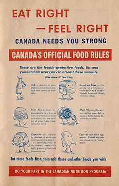 Canada's Official Food Rules was the country's first food guide. Issued in it reflects its wartime origins. Canada Food Guide, Food Protection, Food Policy, Unicorn Foods, Challenges To Do, Rainbow Food, Eat Right, Food Illustrations, Cute Food