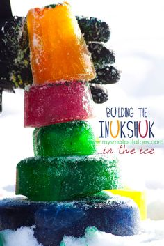 Building The Inukshuk In The Ice...a little Canadian history along with an inexpensive, colourful activity for kids via www.mysmallpotatoes.com #finemotor #concentration #art #history #balance