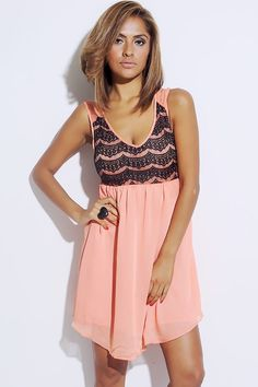 #1015store.com #fashion #style coral/black lace overlay chiffon A line party mini dress-$15.00